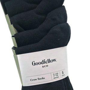 Black Crew Socks, 7-12 Shoe Size, 5 Pairs